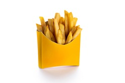 French fries in a yellow paper box isolated on white background. Front view. french fries in a paper wrapper .- Image