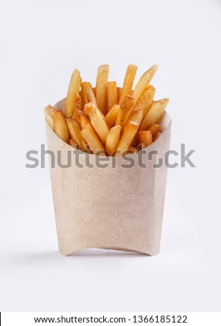 french fries in box on white background