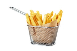 French fries in paper in metal wire basket isolated on a white background