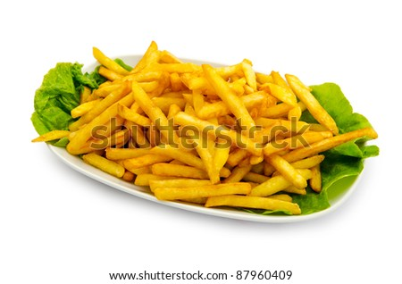 French fries in the plate - stock photo