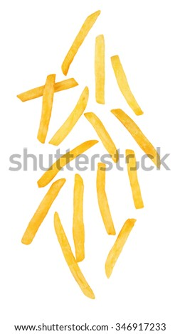 Shutterstock French fries isolated on a white background