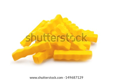 French Fries isolated on white, plastic