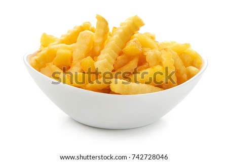 French fries on a plate, isolated on white background #742728046
