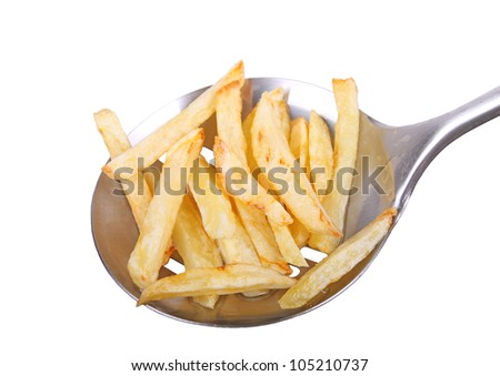 french fries  on ladle