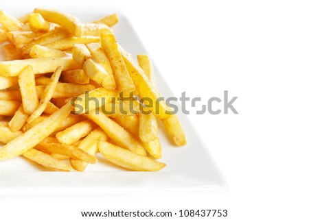French fries potatoes in plate on white