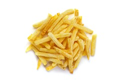 French fries potatoes isolated on white background.