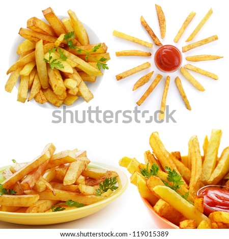 French fries with ketchup over white background collage
