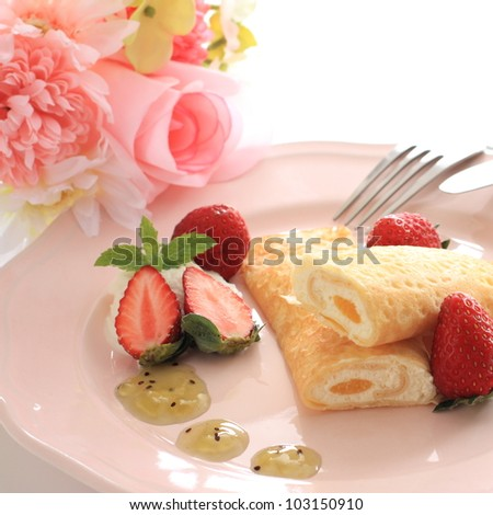 French gourmet dessert, crepe with strawberry