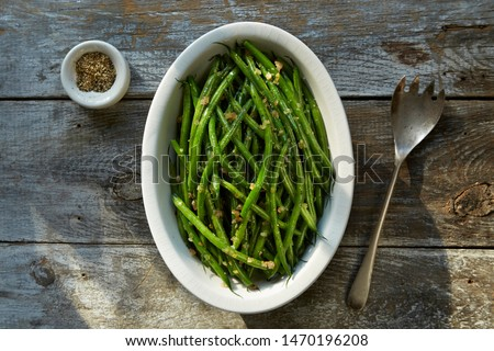 French Green Beans and Shallots Stockfoto ©