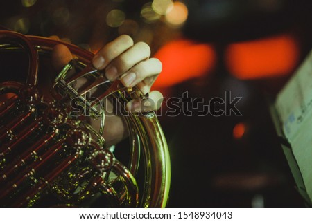French horn musical instrument close-up #1548934043