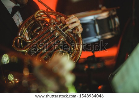 French horn musical instrument close-up #1548934046