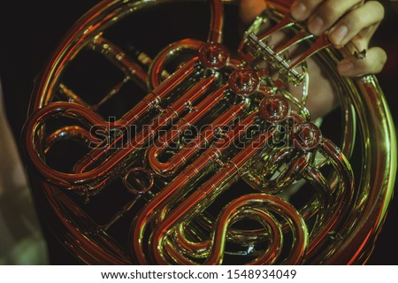 French horn musical instrument close-up