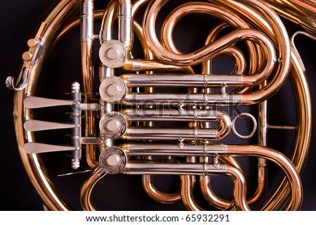 French Horn On Dark Background Stock Photo 65932291 ...
