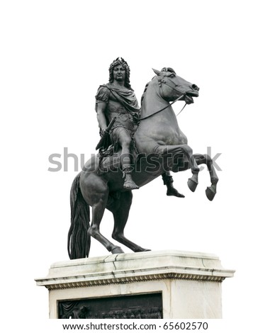 French king Louis XIV equestrian statue at Place des Victoires, Paris, France