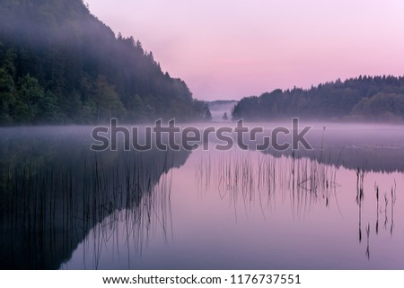 French landscape - Jura. View over the lake of Maclu in the Jura mountains (France) at sunset.