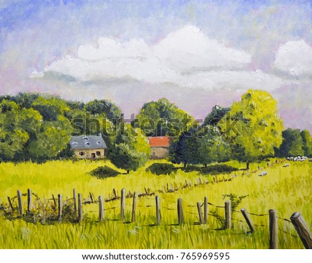 French landscape with houses and meadows oil painting