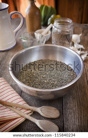 French lentils in a stainless steel bowl