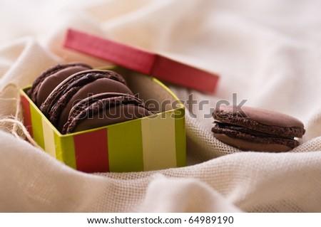 French macarons with dark chocolate