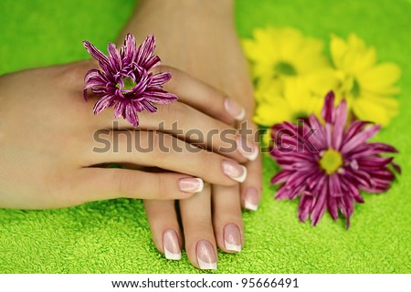 French manicure on hands and flowers near
