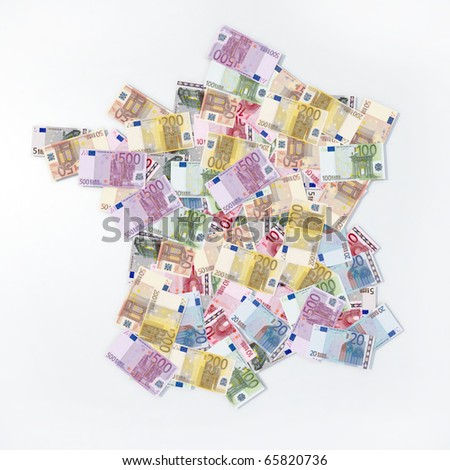 french map with euro notes