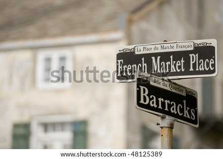 French Market Place sign in the French Quarter, New Orleans - stock photo