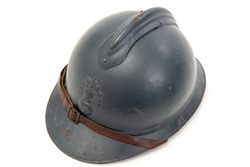 french military helmet of the First World War isolated on white background