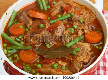 French navarin of lamb stew in cast-iron casserole dish