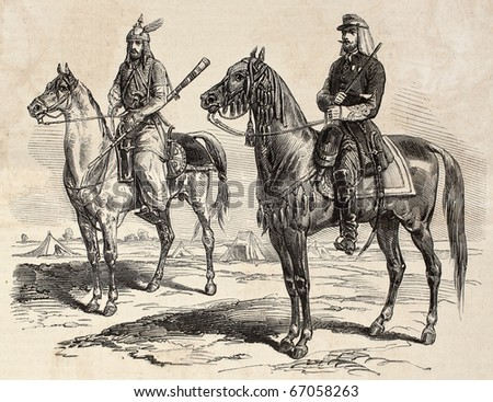 "French officer and Persian cavalier during French mission in Persia. Original, by drawing of E. Duhousset, was published on ""L'Illustration, Journal Universel"", Paris, 1860"
