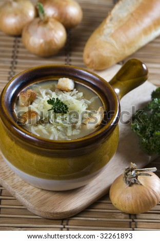 French onion soup with cheese