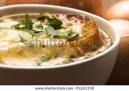 French onion soup with ingredients - stock photo