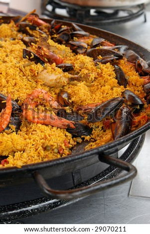 French paella on pan