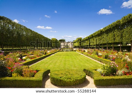 French pavilion and garden from le Petit Trianon in Versailles Chateau. France