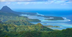 French Polynesia, Huahine island landscape from the mountain Pohue Rahi, south Pacific ocean, Oceania