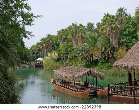 French Polynesia, walking canoe on the river.