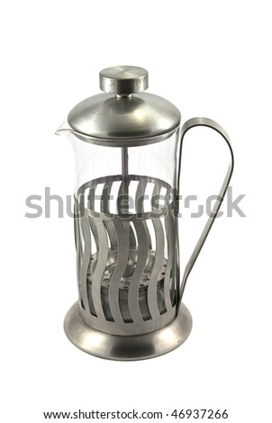 French press for making coffee and tea, on white - stock photo