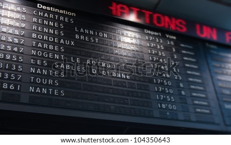 French railway information pannel with train departures, timetable,