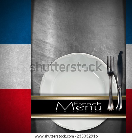 French Restaurant Menu Design / Metallic background with textile French flags empty white plate with & Free photos Restaurant Menu Design. Restaurant menu with empty plate ...
