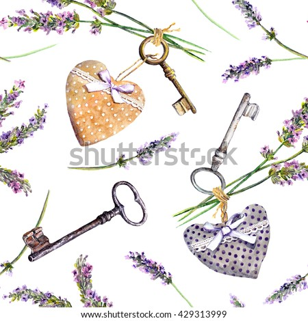 French rural background - lavender flowers, vintage keys, textile hearts. Seamless pattern in country style of Provence. Watercolor