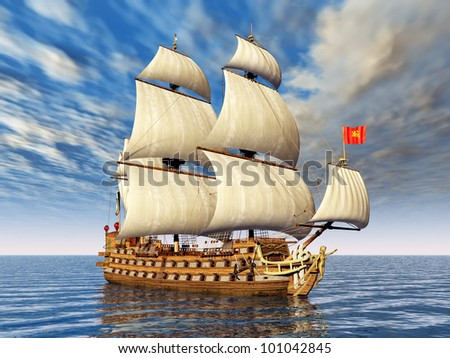 French Sailing Ship Computer generated 3D illustration - stock photo