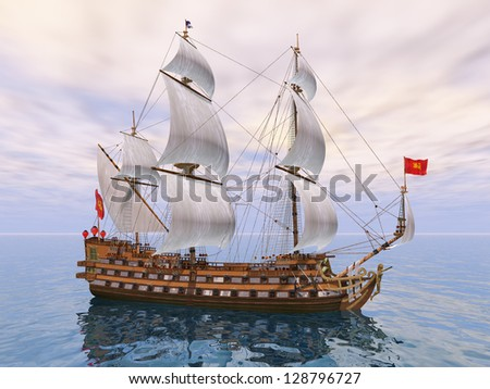 French Sailing Ship Computer generated 3D illustration