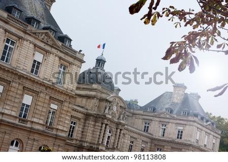 French senate at Jardin du Luxembourg, Paris, France - stock photo
