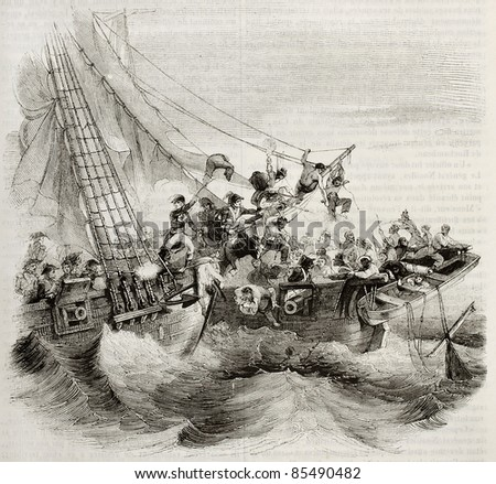 French shooner Courier boarding British ship Hazard. Created by Gudin, published on Magasin Pittoresque, Paris, 1842