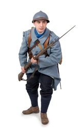 French soldier 1914 1918 attack, November 11th, on white background