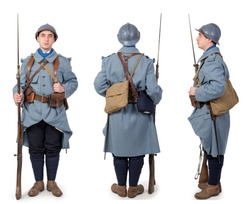 French soldier 1914 1918, November 11th, front, back and side view, isolated on the white background