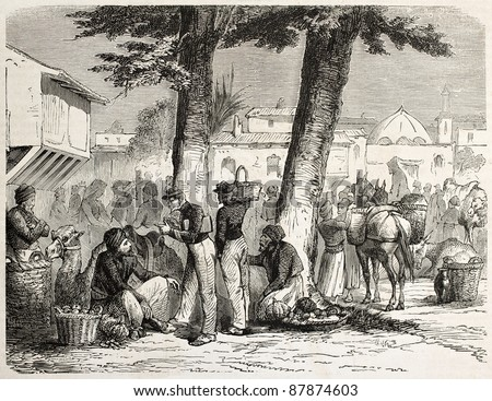 French soldiers in a Lebanese marketplace. Created by Lanson, published on L'Illustration, Journal Universel, Paris, 1860