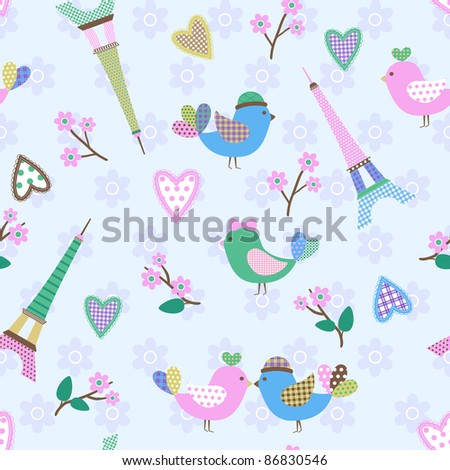 French styled pattern with birds, hearts and Eiffel. Blue. Seamless pattern can be used for wallpaper, pattern fills, web page background, surface textures.