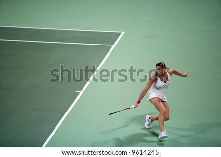 French tennis star Amelie Mauresmo in action in Round 1 at the Qatar Total Open Tier 1 tournament in Doha, Qatar, February 18, 2008
