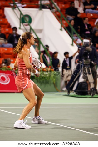 French tennis star, former world No 1, Amelie Mauresmo at the Qatar Total Open, Doha, in February 2006.