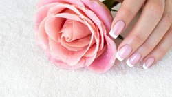 French tips and a pink rose. Female fingers with beautiful manicure on white terry towel, close up, selective focus. Spa, skin care, beauty treatment, salon, body parts and woman fetish concept