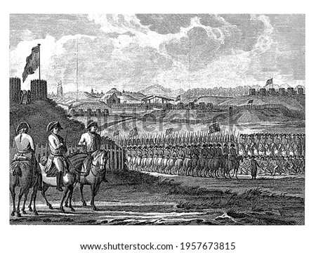French troops leave Landrecy, vintage engraving. Сток-фото ©